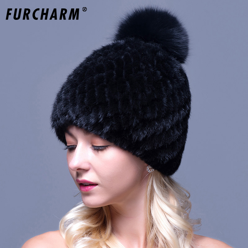 100% Mink Fur Hat For Women With Fox Fur Pompons High Quality Thicken Female Knitted Caps Real Mink Fur Hat for the Winter real mink fur hat for women winter full fur hat with flower top 2016 new arrival good quality multicolor female luxury mink cap