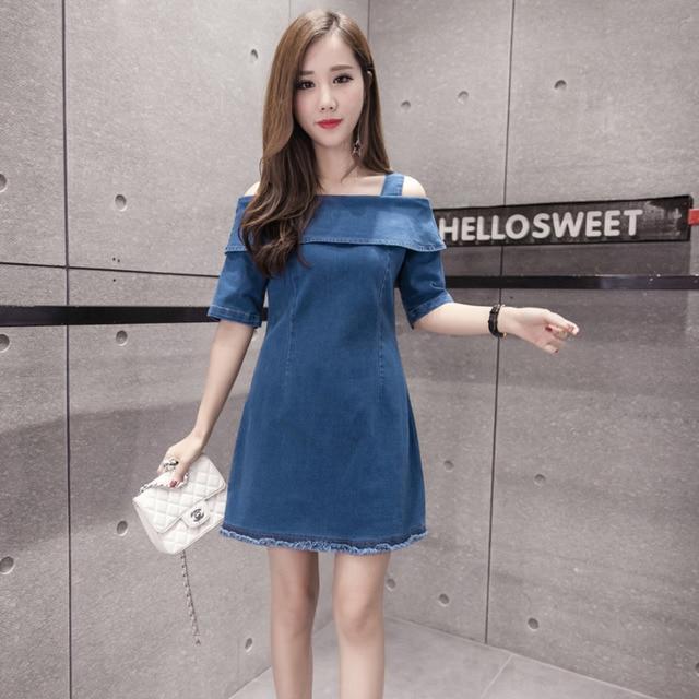 cfa5070f147 Off Shoulder Dress Women 2018 Summer Korean Style Vintage Ripped Tassel  Slash Neck Slim A Line Blue Denim Dress Vestidos 1338