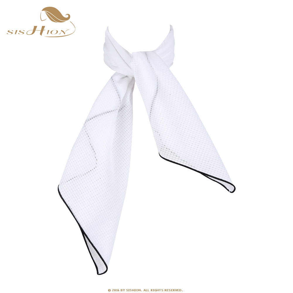 SISHION White Women Scarf Small Square Solid Color Collar Little Cravat Scarves 70*70cm Ladies Chiffon Handkerchief SD0017