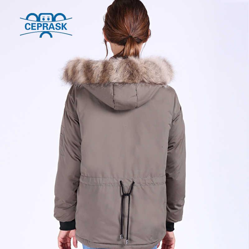 CEPRASK 2019 Nova Pele de Guaxinim Mulheres Jaqueta de Inverno Plus Size Casual Bio fluff Grosso Parka Com Capuz Casacos de Inverno Quente Outerwear