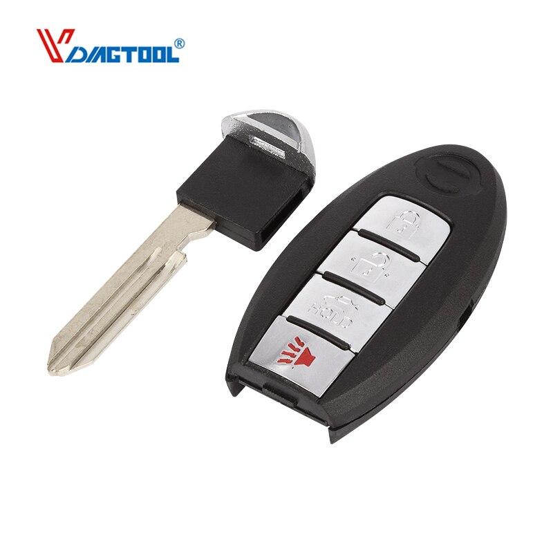 VDIAGTOOL Novo 3 + 1 botões inteligente remoto chave shell para Nissan Navara Micra Juke Xtrail Qashqal Duque de Substituição com lugar da bateria