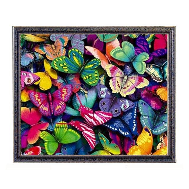 Berlian Mosaik Hewan Berwarna Kupu Kupu Diy 5d Berlian Lukisan