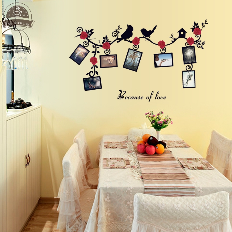 Flower and bird photo frame DIY Vinyl Wall Stickers Kids Rooms Home ...