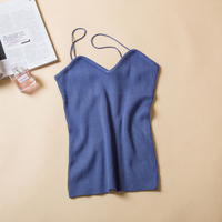 New knitted Tank Tops Women Camisole Vest Stretchable Ladies V Neck Slim Sexy Strappy Bandage Camis Tops Body Shirt 6 Colors