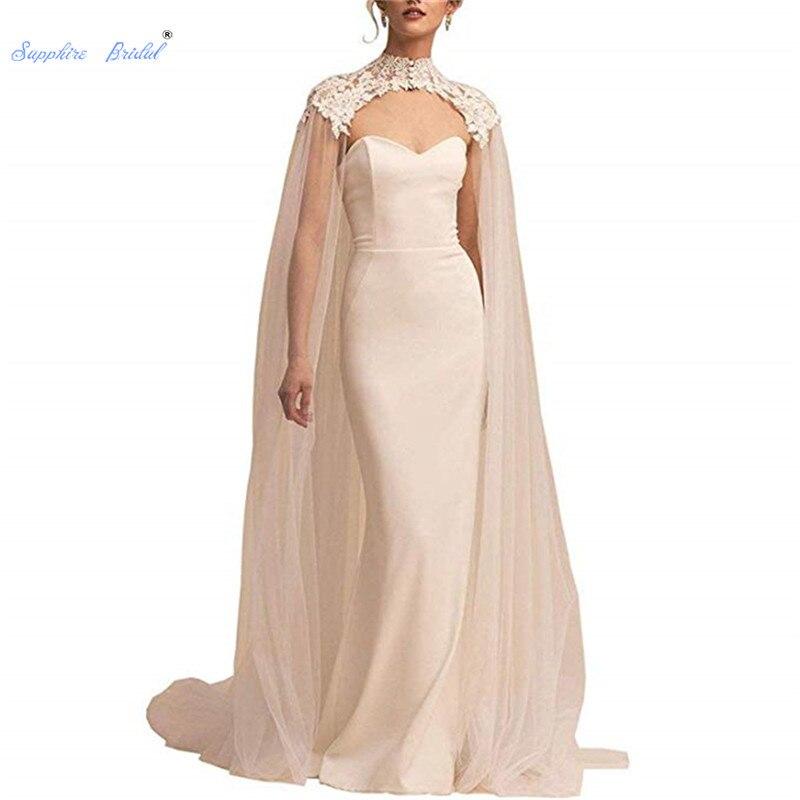 Saphir mariée 2019 femmes blanc cathédrale longueur dentelle Tulle mariage Capes haut cou mariage mariée enveloppes Cape Cape Cape voile