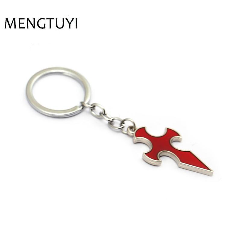 J Store Anime Sword Art Online Keychain Knights Sign red cross Key chain trinket llaveros for men women Game souvenir