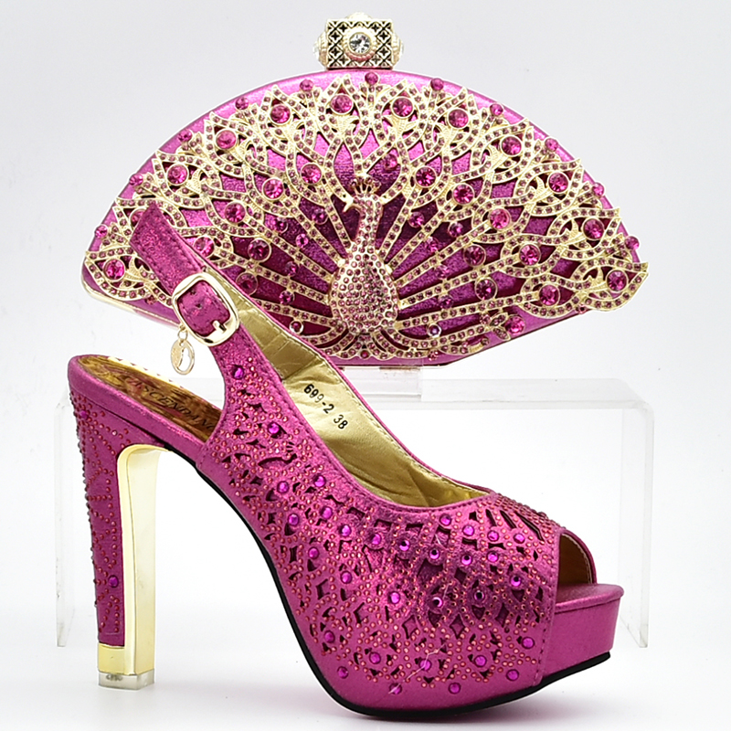 Shoes and Bag Set fuschia Shoes and Bag Set African Sets 2018 Italian Shoes with Matching Bags for Women Nigerian Shoes and Bag doershow gold shoes and bag sets for women italian shoes with matching bags for women african shoes and bag set for party hbl1 8