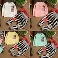 4 Colors 2014 Autumn Baby Cartoon Stripe Fashion  Long Sleeve Suit 4 Size  Free Shipping