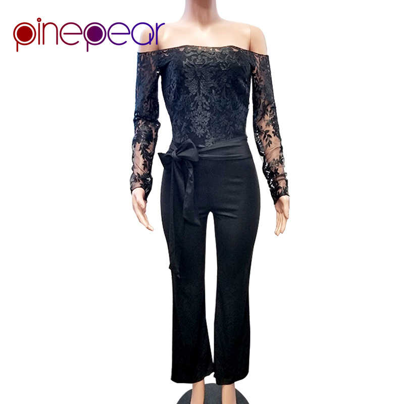 d8374b20537a ... PinePear New 2019 Royal Blub Elegant Off Shoulder Floral Embroidery  Lace Jumpsuit Women Sheer Long Sleeve ...