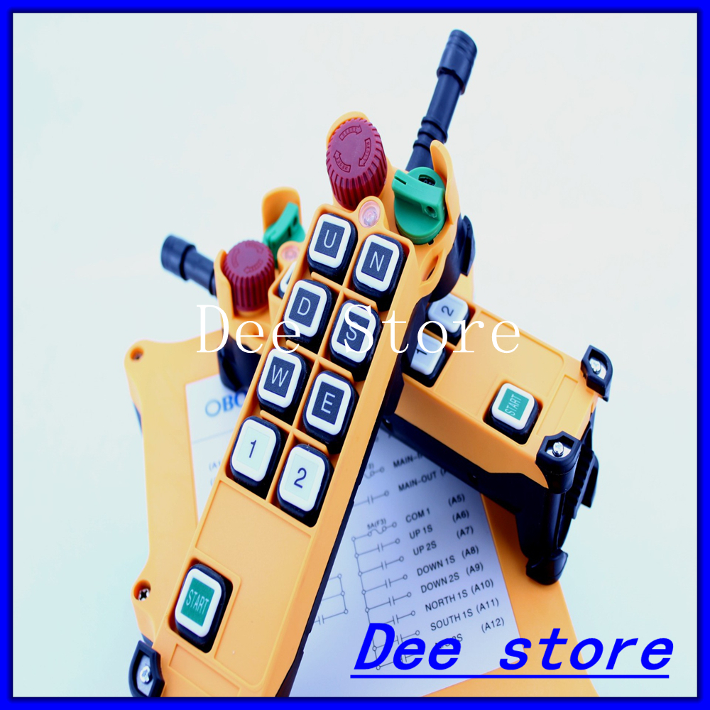 2 Speed 2 Transmitters Hoist Crane Truck Radio Remote Control Push Button Switch System Controller With E-Stop 2pcs receiver transmitters with 2 dual button remote control wireless remote control switch led light lamp remote on off system