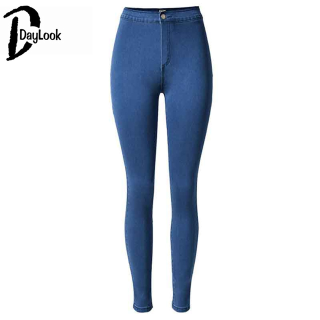 Aliexpress.com : Buy Dark Blue Solid High Waist Jeans Single ...