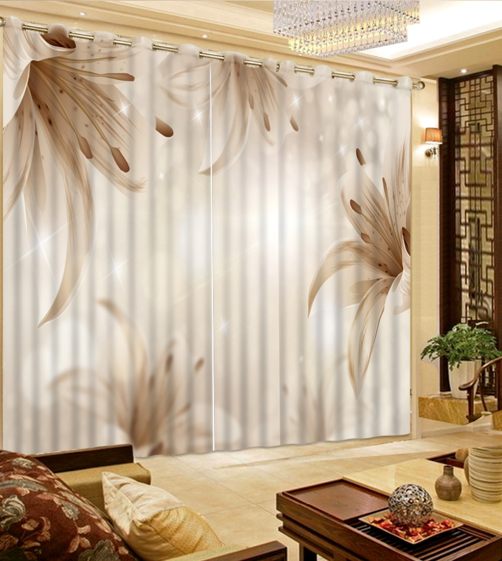US $46.8 61% OFF|European Curtain Bedroom Living room Curtains Custom Photo  flower gray Blackout Curtain Beautiful Fashion Window Curtain-in Curtains  ...