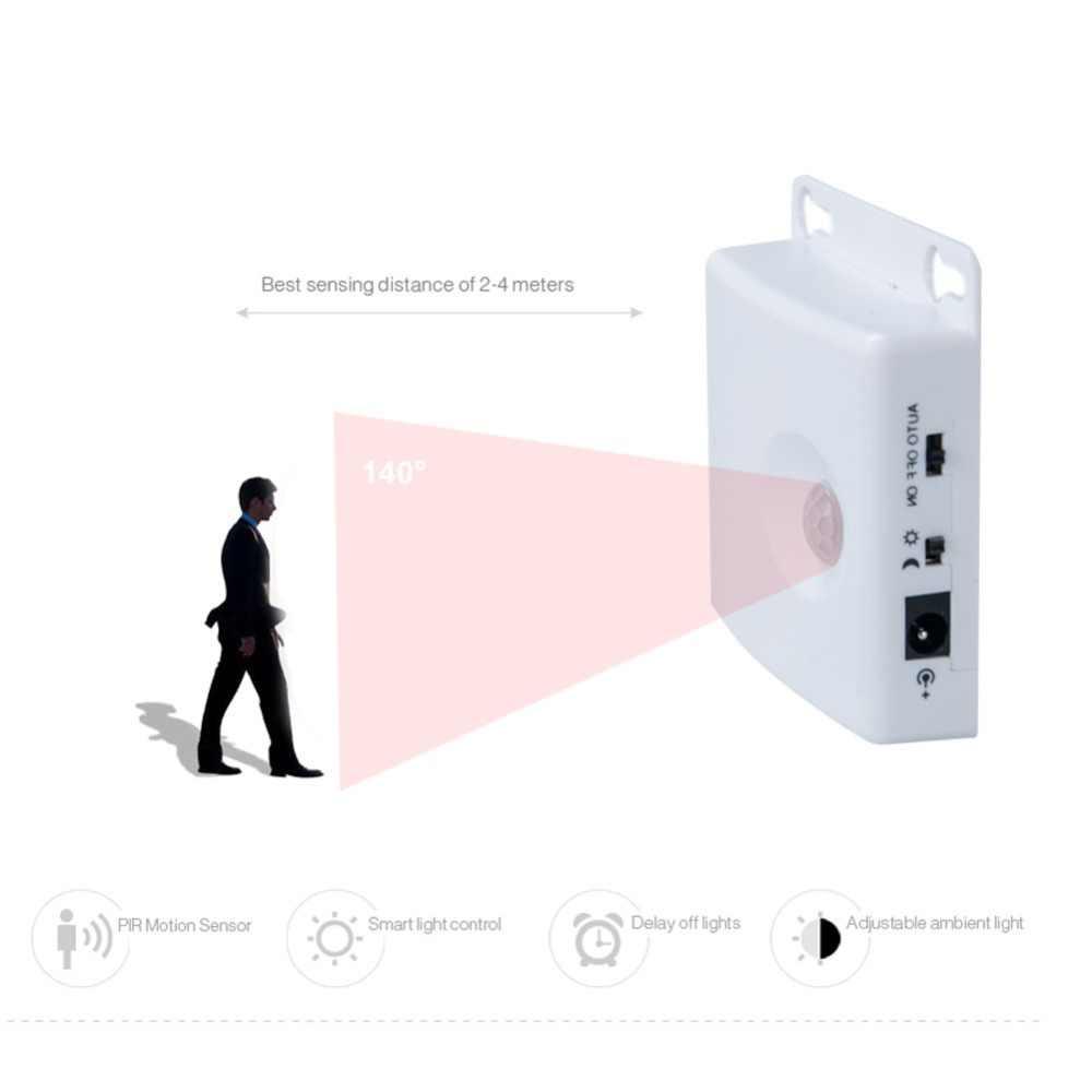 EeeToo светодиодные ночники PIR датчик движения светодиодная лента 1 м 1,5 м 2 м 3 м DC 5 В SMD 2835 ночник шкаф лестница лампа для шкафа