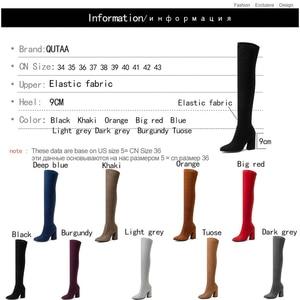 Image 5 - QUTAA 2020ผู้หญิงเข่าสูงรองเท้าแฟชั่นทั้งหมดชี้ToeฤดูหนาวElegantทั้งหมดรองเท้าผู้หญิงขนาด34 43