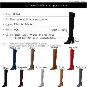 Image 5 - QUTAA 2020 kobiety ponad buty do kolan moda wszystko mecz szpiczasty nosek buty zimowe eleganckie wszystkie mecz kobiet rozmiar butów 34 43