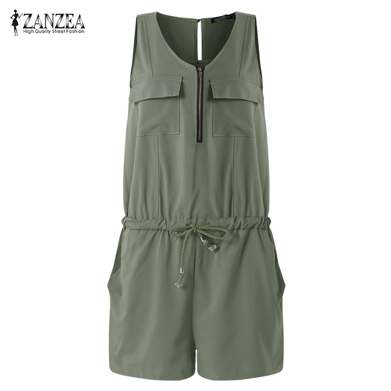 ZANZEA Summer Beach Rompers Womens Jumpsuit Front Zipper Sleeveless Sexy Slim Fit Playsuits Elegant Solid Plus Size Overalls 2