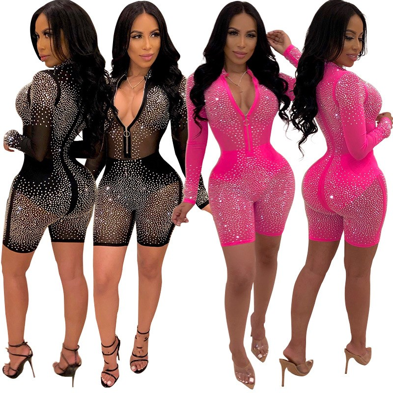 Neon Pink Mesh Glitter Diamond Women Long Sleeve Playsuits Sheer See Through Sexy Romper Bodycon Mini Short Jumpsuit
