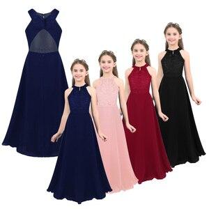 Image 2 - ילדים בנות ילדי שיפון פרחוני תחרה מגזרת חזרה פרח בנות שמלת נסיכת תחרות מסיבת יום הולדת אירוע רשמי שמלה