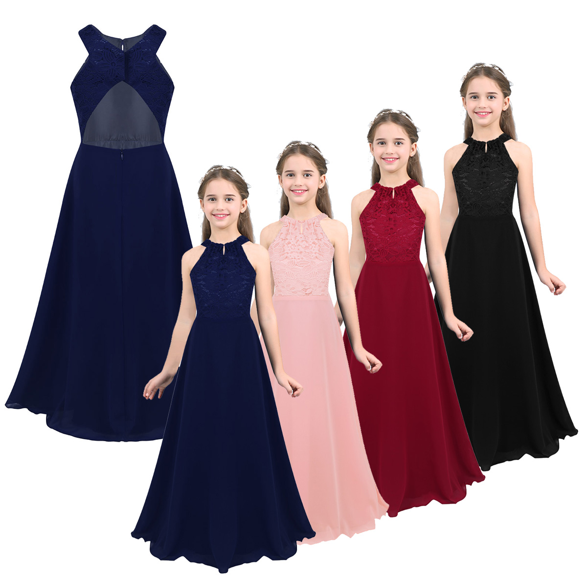 Girls Floral Lace Maxi Romper Dress Princess Pageant Birthday Party Prom Gown