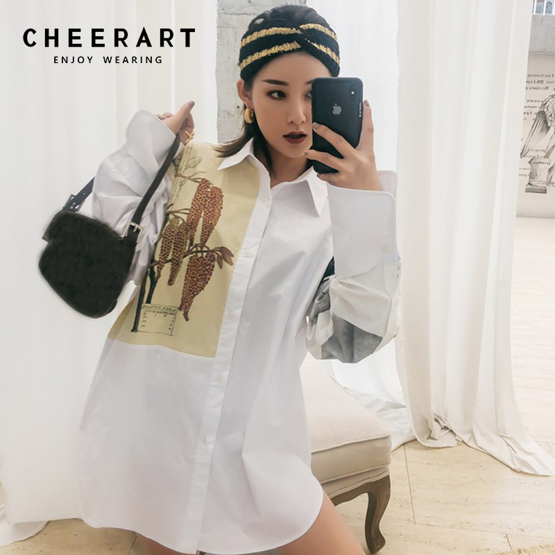 589a9ef96ecb1c Cheerart White Shirt Women Print Floral Blouse Designer Tops And Blouses  Loose Long Sleeve High Street