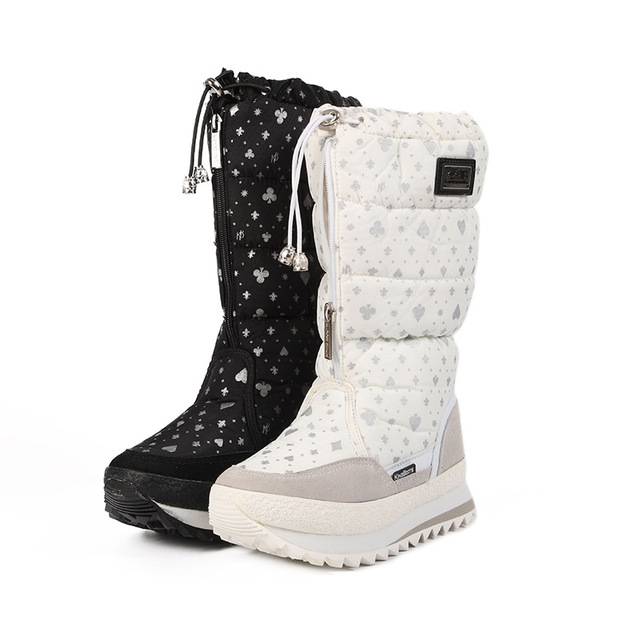 Winter boots High Women Snow Boots plush Warm shoes Plus size easy wear girl white/black zip shoes female hot boots