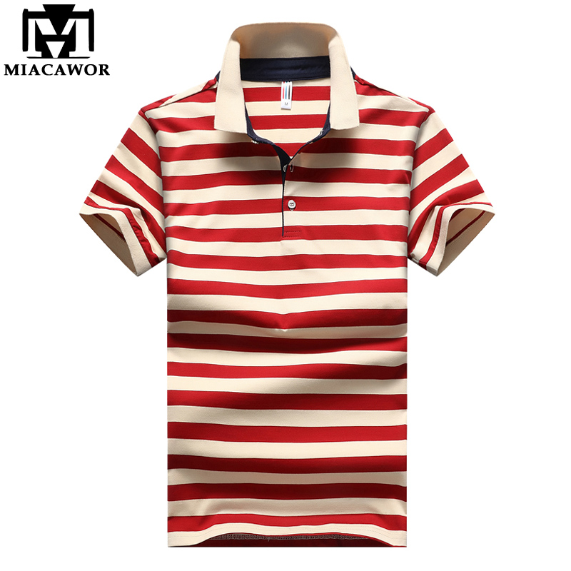 MIACAWOR New Brand Men   Polo   95%Cotton Fashion Striped   Polo   Homme Summer Short-sleeve Camisas   Polo   Drop Shipping MT661