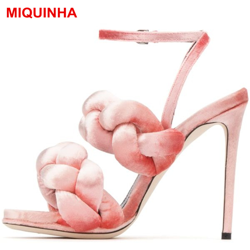 MIQUINHA Brand Peep Toe Sexy High Thin Heel Women Sandals Flock Plait Women Summer Shoes Buckle Design Gladiator Mujer Sandalia  miquinha summer fashion casual shoes women sandalia feminina open round toe buckle strap square heel shoes sexy ladies sandals