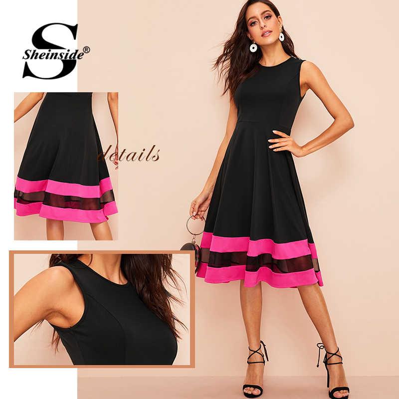 Sheinside, сетчатая вставка, полосатая деталь, подходит и расклешенное летнее платье 2019, винтажные черные длиной до колена, платья с высокой талией, женское платье