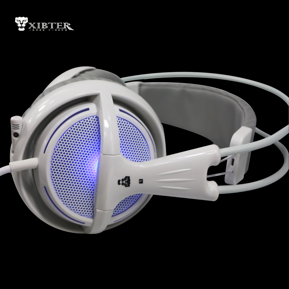 Xibter Over-ear Gaming Headphone with Microphone Volume Control Blue LED Lighting Deep Bass Headset For PC Computer Video Games best computer gaming headphone headset over ear game headphones stereo deep bass led light with mic for computer pc