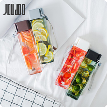 JOUDOO 470ML Square Simple High Quality Drop-resistant Plastic Transparent Leak Proof With Rope Water Bottle 35