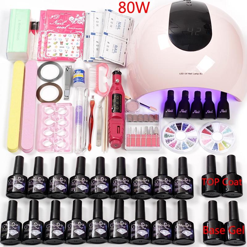 Electric Nail Machine Handle Set 36W / 48W / 80W Nail Lamp Uv Led Dry Nail Polish Gel Varnish Acrylic Kit Apparatus for Manicure
