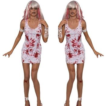 2018 nueva Halloween horror fantasma ghost zombie juega fantasma traje de novia  sexy vampiro blanco rol alta calidad nuevo Hallowe 0c09b9857fed