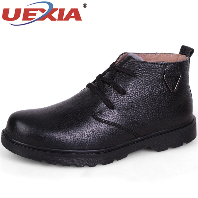UEXIA 2018 New Classic Men Boots Shoes Winter Warm Fur Snow Boots Men Slip On Shoes Boot Non-slip High Quality Outdoor Shoes Man mulinsen brand new winter men sports hiking shoes cowhide inside keep warm sport shoes wear non slip outdoor sneaker 250666
