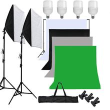 ZUOCHEN Photo Studio Softbox White Black Green Screen Backdrop Light Stand Umbrella Lighting Kit