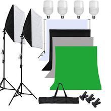 Софтбокс для фотостудии ZUOCHEN, белый, черный, зеленый экран светильник осветительная стойка, фотокомплект