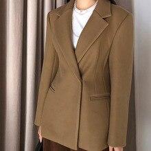 LANMREM 2020 bahar yeni rahat moda kadın gevşek artı mizaç düz renk koyu toka takım yün ceket TC789