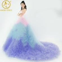 Luxury Wedding Dress Cloud Long Lace Up Sexy Ball Gown 2017 Robe De Mariage Princess Bride Dresses Custom Made Vestido De Noiva