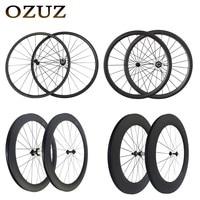 Straight pull v Brake 24mm 38mm 50mm 88mm carbon wheels clincher tubular 700c road bicycle wheelset 3k matte glossy powerway r36