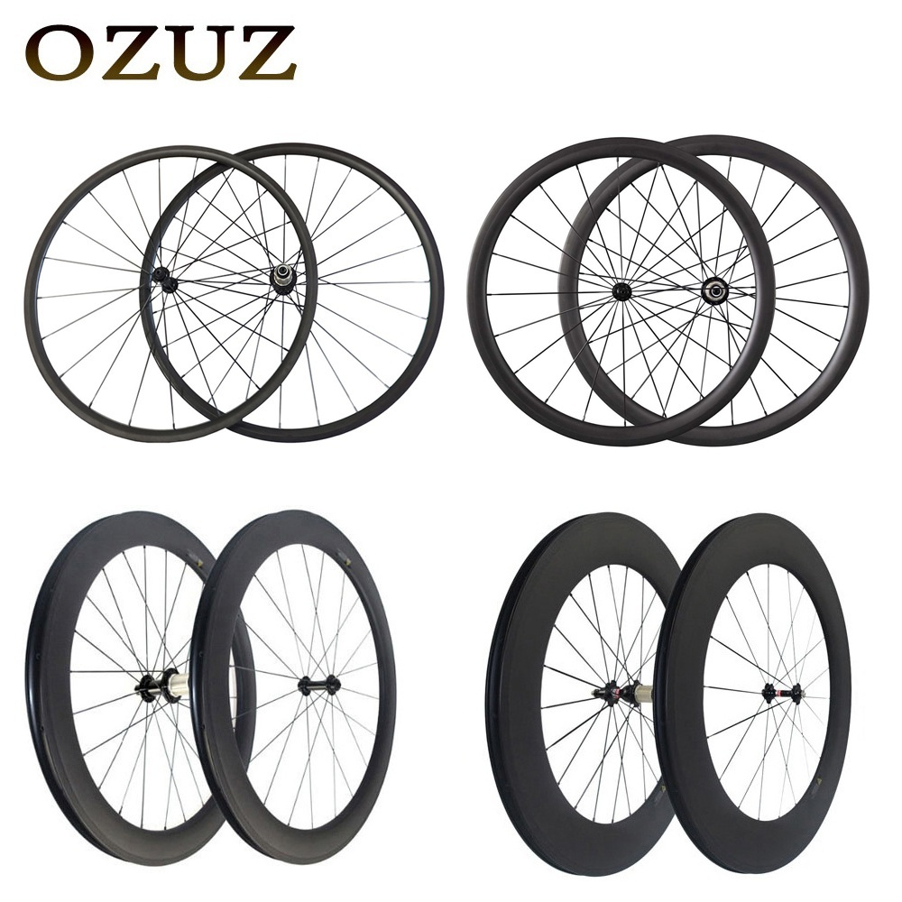 Droite pull v De Frein 24mm 38mm 50mm 88mm carbone roues enclume tubulaire 700c bicyclette de route de roues 3 k mat powerway r36