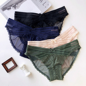 Image 5 - 4 colors Sexy lace 3/4 cup thin cotton women wire free bra and panty set transparent female underwear lingerie girls sleepwear