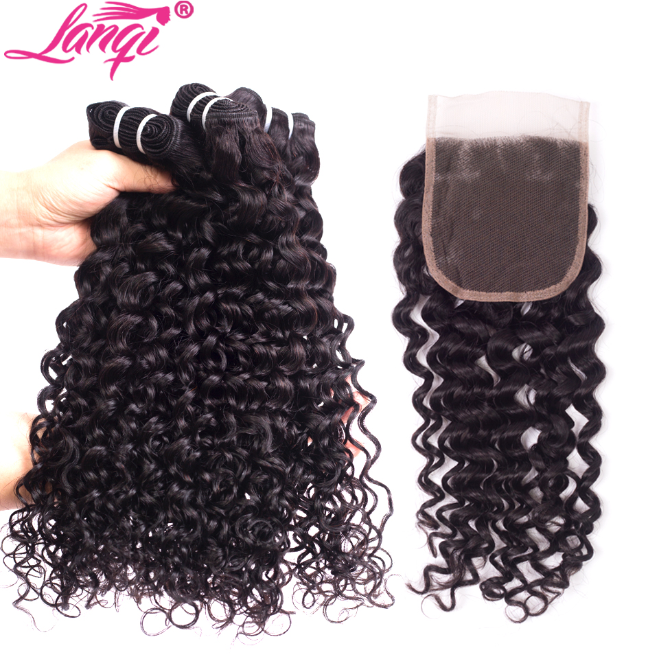Malaysian Water Wave 3 Bundles With Closure Lanqi Water Wave Human Hair Weave With Closure Virgin Remy Hiar Bundles With Closure