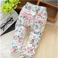 Wholesale  1/lot =5 pieces Free shipping 2017 spring autumn   child baby  girls rustic casual cotton pants Flowers Leggings