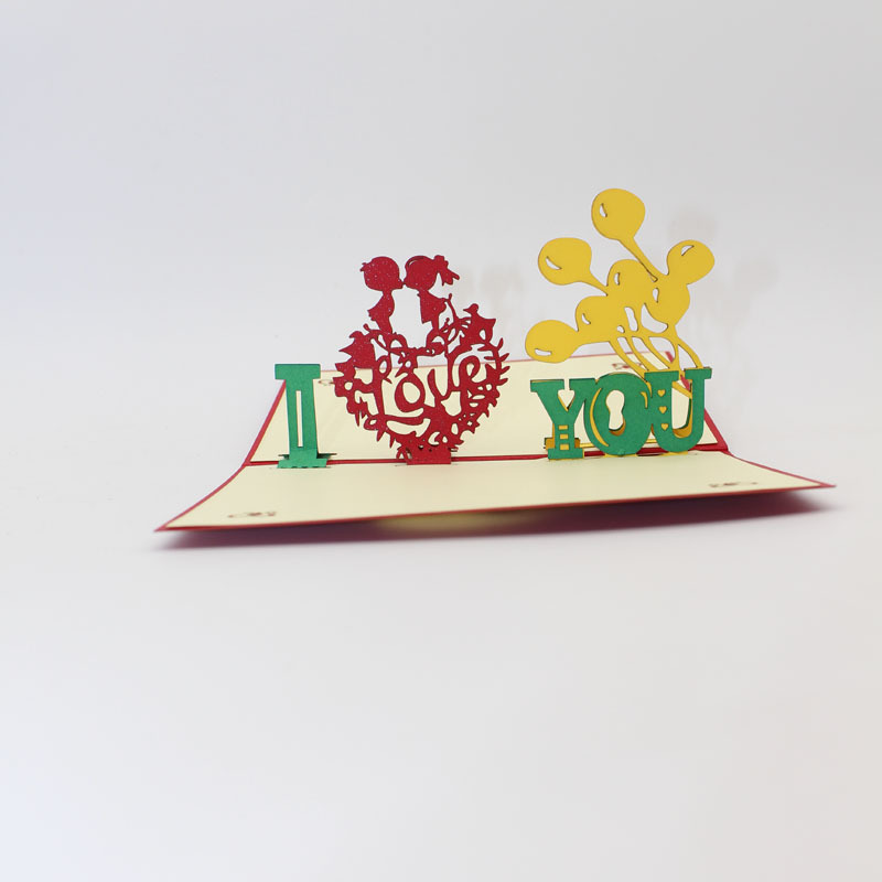 (10 piece/lot)Fashion 3D Pop Up Foldable Cut Paper Greeting Cards Creative Handmade I LOVE YOU Wedding Invitation Card Wholesale