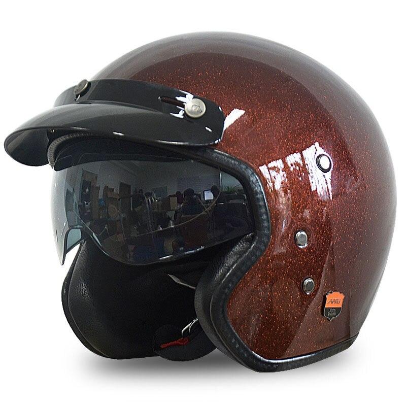 AMU Motorcycle Retro Vintage Helmets FiberGlass chooper bike Helmet 3/4 half face moto casque moto Helmet 1000m motorcycle helmet intercom bt s2 waterproof for wired wireless helmet