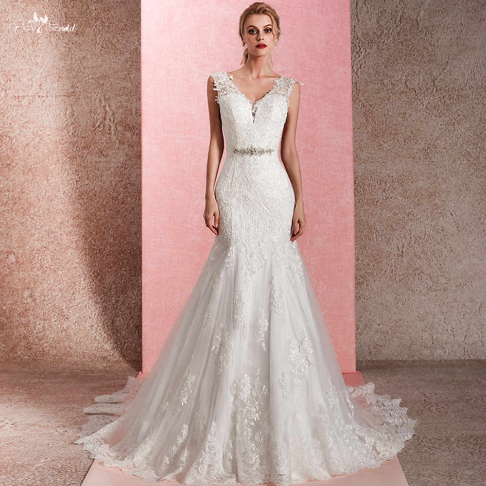 RSW1476 Sexy Real Pictures V Neckline Mermaid Wedding Gowns 2018