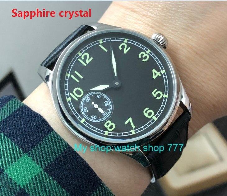 Sapphire crystal 44mm parnis Asian 6497 17 jewels Mechanical Hand Wind movement men s watch luminous