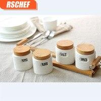 RSCHEF White ceramic spice cans kitchen accessories oil salt saucepan spoon tray