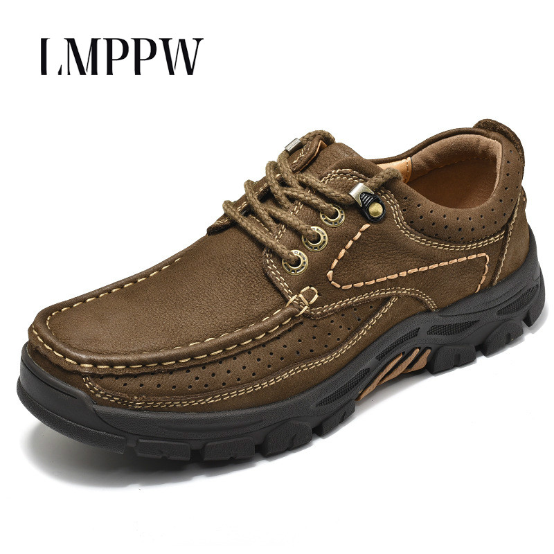 High Quality Men Shoes Men Casual Shoes Genuine Leather Breathable Sneakers Nonslip Rubber Outdoor Leisure Shoes Footwear Brown top brand high quality genuine leather casual men shoes cow suede comfortable loafers soft breathable shoes men flats warm