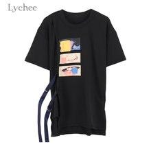 Летняя женская футболка Lychee в стиле Харадзюку, Повседневная Свободная футболка с коротким рукавом и принтом рта на завязках, футболка