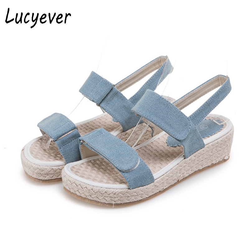 Lucyever Women Comfortable Wedges Platform Sandals Handmade Hemp Soles Shoes Woman Leisure Demin Summer Gladiator Sandals phyanic 2017 gladiator sandals gold silver shoes woman summer platform wedges glitters creepers casual women shoes phy3323